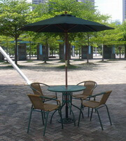 古綠編藤休閒桌椅
